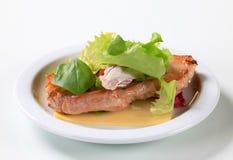 Fried pork belly with leaf vegetables Stock Image