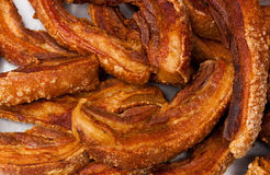 Fried pork belly placed on the market. Royalty Free Stock Photos