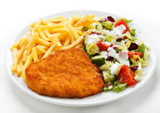 Fried pork chop and chips Royalty Free Stock Image