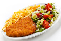 Fried pork chop and French fries Stock Images