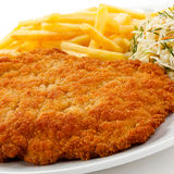 Fried pork chop and French fries Royalty Free Stock Photography