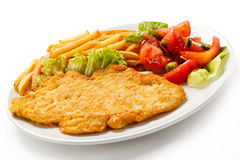 Fried pork chop and French fries Royalty Free Stock Photos