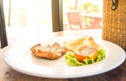 Fried pork chop, mashed potato Stock Images