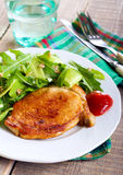 Fried pork chop and salad Royalty Free Stock Photo
