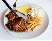 Fried pork chop,vegetable salad Stock Images