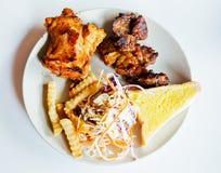 Fried pork chop, vegetable salad Royalty Free Stock Photography