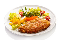 Fried pork chop and vegetables Royalty Free Stock Image