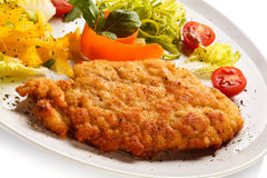 Fried pork chop and vegetables Royalty Free Stock Photography