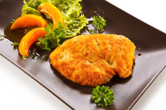 Fried pork chop and vegetables Royalty Free Stock Photos