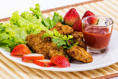Fried pork with clean vegetable Stock Photography
