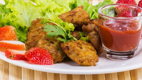 Fried pork with clean vegetable Stock Photos