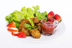 Fried pork with clean vegetable Stock Image