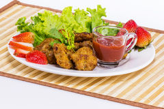 Fried pork with clean vegetable Royalty Free Stock Photos