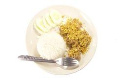 Fried Pork con arroz del ajo fotografía de archivo