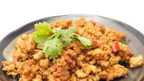 Fried pork with curry paste Royalty Free Stock Photos