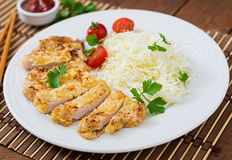 Fried pork cutlet with fresh cabbage salad Royalty Free Stock Image