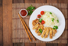 Fried pork cutlet with fresh cabbage salad and sauce. Stock Images