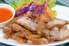 Fried pork on dish Royalty Free Stock Photo