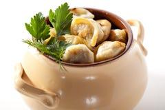 Fried Pork Dumplings Pot Imagens de Stock