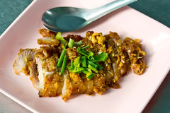 Fried Pork with garlic and pepper Royalty Free Stock Photos