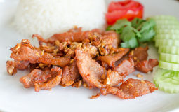 Fried pork with garlic and pepper Royalty Free Stock Image