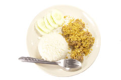 Fried Pork with garlic rice. Set of fried Pork with garlic rice Stock Photography