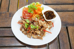 fried pork with garlic and salt with Spicy Dipping Sauce stock image