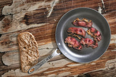 Fried Pork Ham Rashers In Teflon Frying Pan With Slice Of Brown Bread Set On Old Cracked Wooden Picnic Table  Royalty Free Stock Images