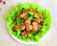 Fried pork with herb Stock Photo