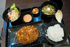 Fried pork and japanese rice in the bento set Royalty Free Stock Photo