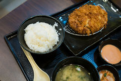 Fried pork and japanese rice in the bento set Royalty Free Stock Images
