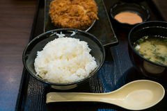 Fried pork and japanese rice in the bento set Stock Photo