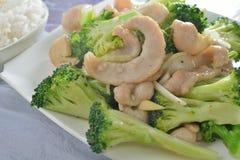 Fried pork jowl broccoli Stock Photography