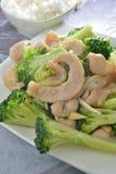 Fried pork jowl broccoli Royalty Free Stock Photography