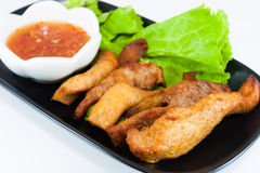 Fried Pork. With Leaf Lettuce and Chili Sauce Royalty Free Stock Image