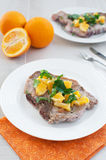 Fried pork meat with citrus salsa Stock Image