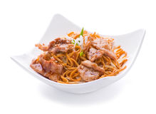 Fried pork meat slice. With noodles Stock Photos