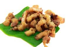 Fried Pork met Knoflookpeper op banan blad Stock Fotografie