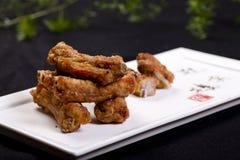 Fried pork ribs. Chinese food fried pork ribs royalty free stock image