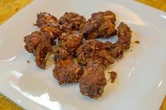 Fried Pork Ribs com alho imagens de stock