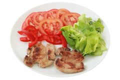 Fried pork with salad Royalty Free Stock Images