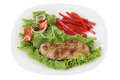 Fried pork with salad Royalty Free Stock Photos