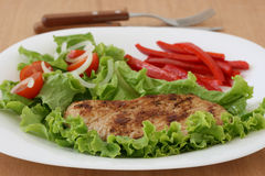 Fried pork with salad Royalty Free Stock Image