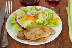 Fried pork with salad Stock Image