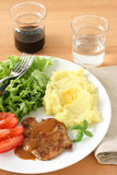 Fried pork with sauce and mashed potato Royalty Free Stock Images