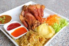 Fried pork with sauce and potato Royalty Free Stock Photos