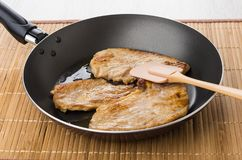 Fried pork schnitzel in frying pan and spatula on mat Royalty Free Stock Image