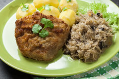 Fried pork schnitzel served with boiled potatoes and fried sauer Royalty Free Stock Photography