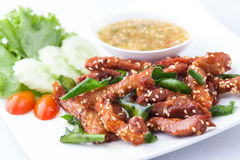 Fried pork topping with white sesame Royalty Free Stock Photos