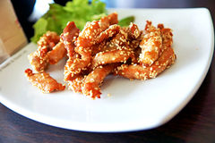 Fried pork topping by white sesame Stock Photography